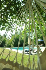 View of the heated swimming pool from the hammock
